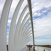 Walkers and bikers on the Coastal Walkway, a 10km path that forms an expansive sea-edge promenade at New Plymouth, New Zealand,  18th December 2010 Photo Tim Clayton.