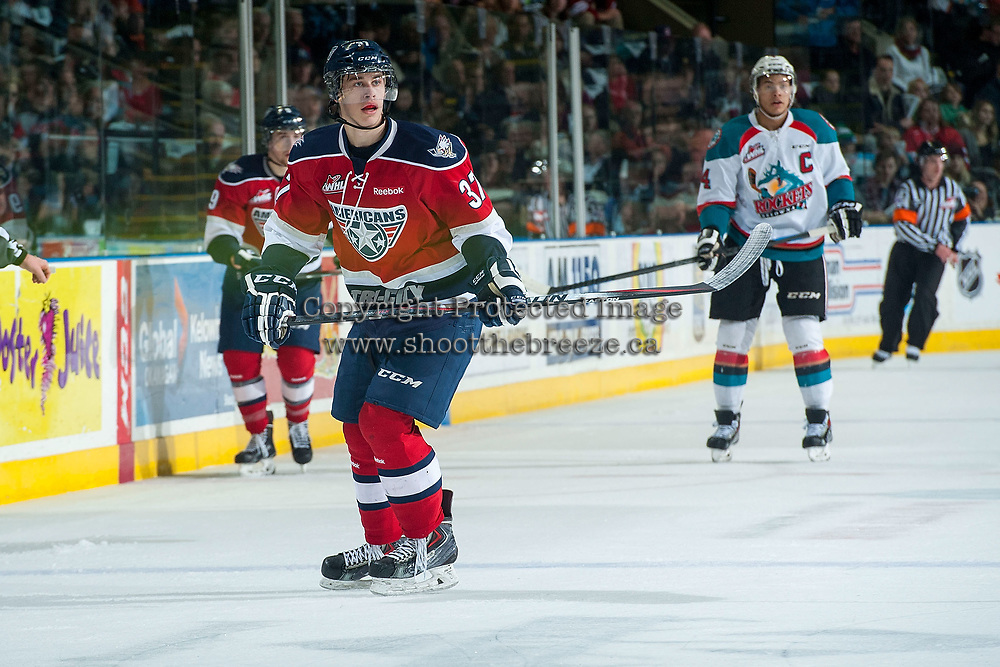 KELOWNA, CANADA - MARCH 27: Parker Wotherspoon #37 of Tri-City Americans skates against the Kelowna Rockets on March 27, 2015 at Prospera Place in Kelowna, British Columbia, Canada.  (Photo by Marissa Baecker/Getty Images)  *** Local Caption *** Parker Wotherspoon;