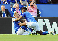 Football - 2019 / 2020 Premier League - Leicester City vs. Tottenham Hotspur<br /> <br /> James Maddison of Leicester celebrates scoring the winning goal ( no 2) , with Demarai Gray at The King Power Stadium.<br /> <br /> COLORSPORT/ANDREW COWIE