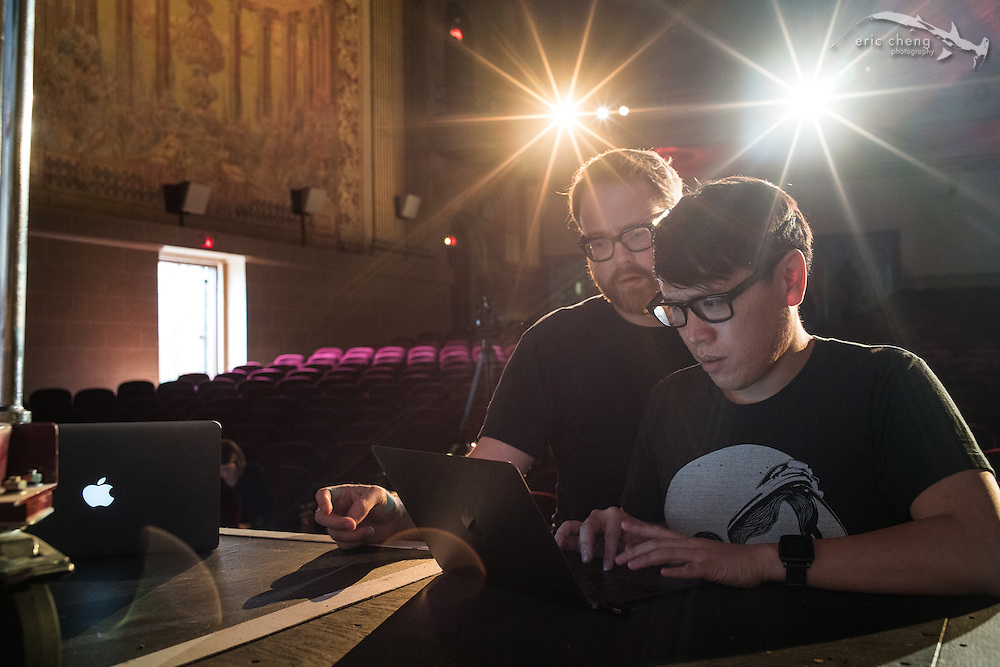 Will Smith and Norman Chan prep. Tested.com live show, Oct 23, 2015, Castro Theater, San Francisco.