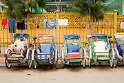 "14 MARCH 2006 - PHNOM PENH, CAMBODIA: A ""cyclo"" or pedicab driver waits for a fare near the Old Market in Phnom Penh, Cambodia. Photo by Jack Kurtz / ZUMA Press"
