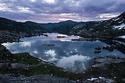 Garnet Lake at sunrise. High Sierra backpacking trip to Garnet Lake and Nydiver Lake in the Ansel Adams Wilderness out of Devil's Postpile national monument 2017.