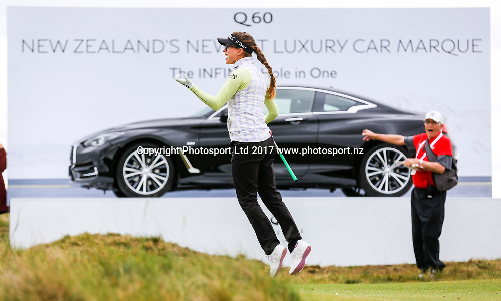 Belen Mozo celebrates a hole in one. Round 2, McKayson NZ Women's Open 2017. LPGA Tour. Windross Farm, Auckland, New Zealand. Thursday 28 September, 2017. Copyright photo: John Cowpland / www.photosport.nz