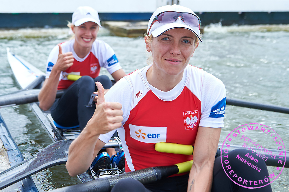 (L) Joanna Dorociak and (R) Weronika Deresz both of Poland after Lightweight Women&rsquo;s Double Sculls (LW2x) Semifinal during second day the 2015 European Rowing Championships on Malta Lake on May 30, 2015 in Poznan, Poland<br /> Poland, Poznan, May 30, 2015<br /> <br /> Picture also available in RAW (NEF) or TIFF format on special request.<br /> <br /> For editorial use only. Any commercial or promotional use requires permission.<br /> <br /> Mandatory credit:<br /> Photo by &copy; Adam Nurkiewicz / Mediasport