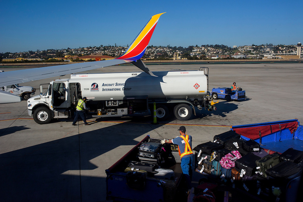 San Diego International Airport, California - March 12, 2015: Southwest Airlines baggage handlers at San Diego International Airport<br /> <br /> CREDIT: Matt Roth