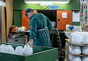 "Italy, Veneto, Canton, glassblowing factory ""Vetrofond"" producing lamps for Foscarini, sand blast treatment"