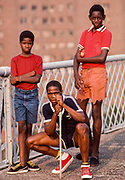 Boys Gang, Williamsburg Bridge, New York City, New York, USA, 1984