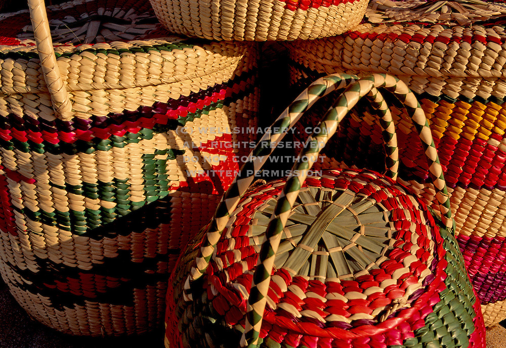 Image of colorful woven baskets in Mazatlan, Mexico