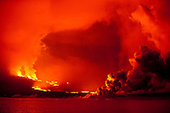 Lava flows into the ocean from the eruption of Volcan La Cumbre, Fernandina Island, Galapagos, Ecuador