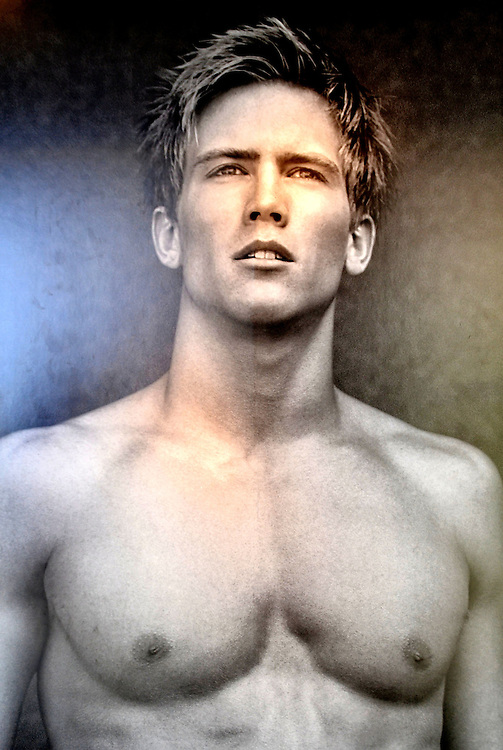 Handsome Bare-chested Male Model Poster from Faces on the Strip at Las Vegas, Nevada