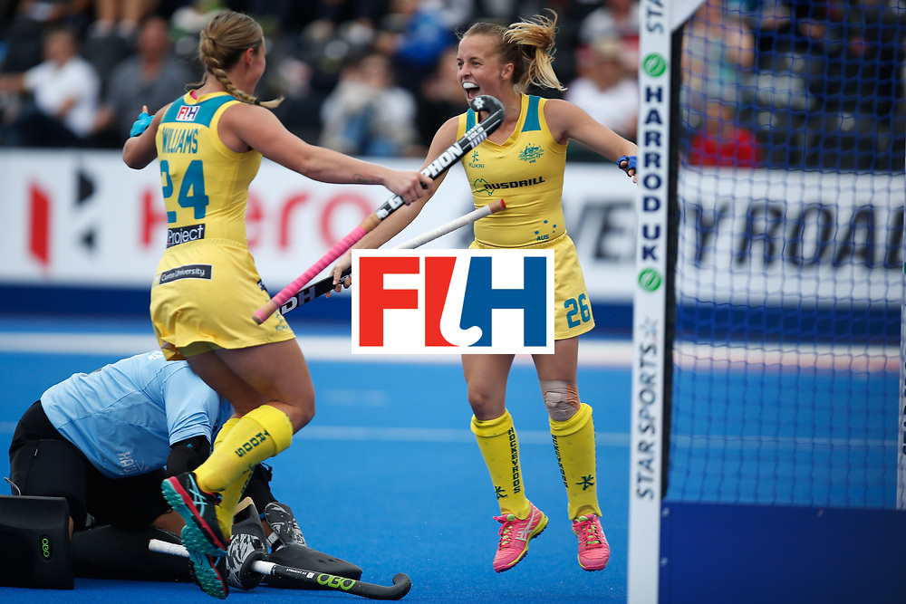 LONDON, ENGLAND - JUNE 19:  Emily Smith of Australia celebrates with teammate Mariah Williams after she scored the games opening goal during the FIH Women's Hockey Champions Trophy 2016 match between Australia and New Zealand at Queen Elizabeth Olympic Park on June 19, 2016 in London, England.  (Photo by Joel Ford/Getty Images)