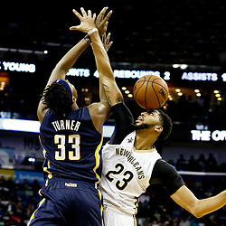 Dec 15, 2016; New Orleans, LA, USA; New Orleans Pelicans forward Anthony Davis (23) fouls Indiana Pacers center Myles Turner (33) during the second quarter of a game at the Smoothie King Center. Mandatory Credit: Derick E. Hingle-USA TODAY Sports