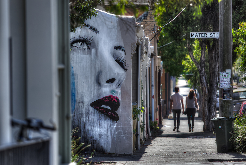 Modern Melbourne. Mural, corner of Mater &amp; Wellington Sts Collingwood. Pic By Craig Sillitoe CSZ/The Sunday Age.17/03/2012 melbourne photographers, commercial photographers, industrial photographers, corporate photographer, architectural photographers, This photograph can be used for non commercial uses with attribution. Credit: Craig Sillitoe Photography / http://www.csillitoe.com<br /> <br /> It is protected under the Creative Commons Attribution-NonCommercial-ShareAlike 4.0 International License. To view a copy of this license, visit http://creativecommons.org/licenses/by-nc-sa/4.0/.