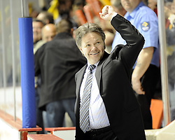 Brandon Wheat Kings' GM/coach Kelly McCrimmon celebrates winning the semi-final game of the 2010 MasterCard Memorial Cup in Brandon, MB on Friday May 21. Photo by Aaron Bell/CHL Images