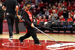 06 January 2016: Broom boy on the ball crew during the Illinois State Redbirds v Loyola-Chicago Ramblers at Redbird Arena in Normal Illinois (Photo by Alan Look)