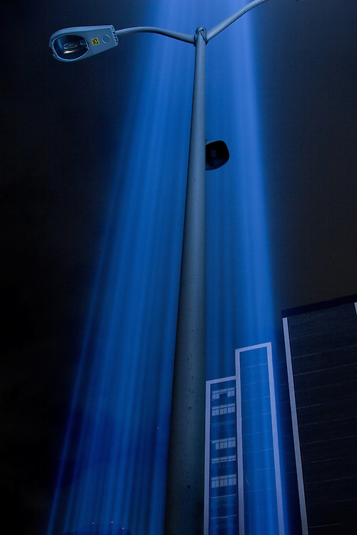 "The ""towers of light"" shoot through the night sky on September 11th, 2009. The lights have become an annual event to honor the victims of 9/11 and the World Trade Center."