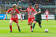 Graham Carey (10) of Plymouth Argyle on the attack followed by Harvey Rodgers (32) of Accrington Stanley and Noor Husin (16) of Accrington Stanley during the EFL Sky Bet League 2 match between Plymouth Argyle and Accrington Stanley at Home Park, Plymouth, England on 1 April 2017. Photo by Graham Hunt.