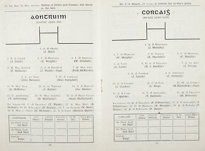 All Ireland Senior Hurling Championship Final, .Brochures,.09.05.1943, 05.09.1943, 5th September 1943, .Antrim 0-4, Cork 5-16,.Minor Dublin v Kilkenny, .Senior Antrim v Cork, .Croke Park, ..Antrim Senior Team, J Hurl, Goalkeeper, J Curry, Right corner-back, C Murphy, Full-back, W Graham, Left corner back, P McGarry, Right half-back, J Walsh, Captain, Centre half-back, Patk McKeown, Left half-back, John Bateson, Midfielder, Noel Campbell, Midfielder, D McKillop, Right half-forward, J Butler, Centre half-forward, Jos Mullen, Left half-forward, T Armstrong, Right corner-forward, D McAllister, Centre forward, Saml Mulholland, Left corner forward, Substitutes, T Walsh, S McNeill, D Boylan, W Best, G. McAteer, Seamus Quinn, ..Cork Senior Team, J Mulcahy, Goalkeeper, W Murphy, Right corner-back, B Thornhill, Full-back, C Murphy, Left corner-back, A Lotty, Right half-back, D J Buckley, Centre half-back, J Young, Left half-back, J Lynch, Midfielder, C Cotterell, Midfielder, J Condon, Right half-forward, C Ring, Centre half-forward, M Kinnefick, Captain, Left half-forward, J Quirke, Right corner-forward, T Sullivan, Centre forward, M Brennan, Left corner-forward, Substitutes, P O'Donovan, J O'Sullivan, B Murphy, P Hayes, P Healy, ..Referee, Dr J J Stuart,