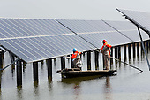 solar panels in a fish pond