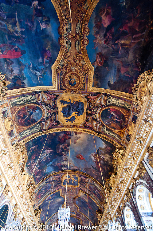 Palace of Versailles. Hall of Mirrors ceiling.