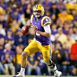 Oct 26, 2013; Baton Rouge, LA, USA; LSU Tigers quarterback Zach Mettenberger (8) against the Furman Paladins during the first half of a game at Tiger Stadium. Mandatory Credit: Derick E. Hingle-USA TODAY Sports