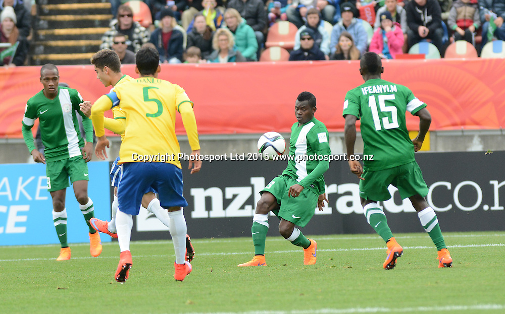 Nigeria:s Abdullahi Mustapha on the ball FIFA U-20 World Cup New Zealand. Nigeria vs Brazil, played at Stadium Taranaki, New Plymouth NZ, Monday 1st June 2015.  <br />  Photo John Velvin / ESPNZ