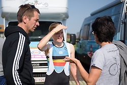 Ann-Sophie Duyck chats to a fan at Boels Rental Ladies Tour Stage 6 a 159.7 km road race staring and finishing in Sittard, Netherlands on September 3, 2017. (Photo by Sean Robinson/Velofocus)