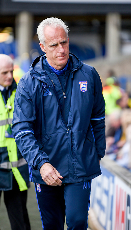 Mick McCarthy of Ipswich Town walking towards players box during the Sky Bet Championship match at Portman Road, Ipswich<br /> Picture by Hannah Fountain/Focus Images Ltd 07814482222<br /> 01/04/2017
