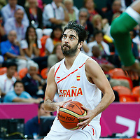 06 August 2012: Spain Juan-Carlos Navarro eyes the basket during 88-82 Team Brazil victory over Team Spain, during the men's basketball preliminary, at the Basketball Arena, in London, Great Britain.