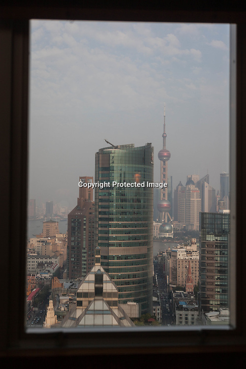 China, Shanghai. elevated view on the city view from the Sofitel hotel