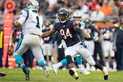 CHICAGO, IL - OCTOBER 22:  Leonard Floyd #94 of the Chicago Bears rushes and wraps up Cam Newton #1 of the Carolina Panthers at Soldier Field on October 22, 2017 in Chicago, Illinois.  The Bears defeated the Panthers 17-3.  (Photo by Wesley Hitt/Getty Images) *** Local Caption *** Leonard Floyd; Cam Newton