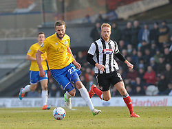 Bristol Rovers' Andy Monkhouse is challenged by Grimsby's Craig Disley - Photo mandatory by-line: Neil Brookman/JMP - Mobile: 07966 386802 - 14/02/2015 - SPORT - Football - Cleethorpes - Blundell Park - Grimsby Town v Bristol Rovers - Vanarama Football Conference