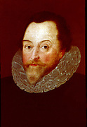 Francis Drake (c1540-1596) English navigator and privateer.  Anonymous portrait.