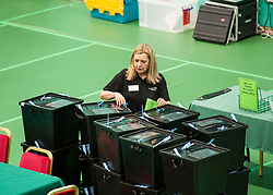 postal ballot boxes are checked prior to the close of polling at the Fife election counting centre in Glenrothes.<br /> <br /> &copy; Dave Johnston/ EEm