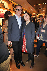 STUART VEVERS Creative Director of Loewe and ALEXANDRA SHULMAN at the opening of Loewe's new boutique at 125 Mount Street, London on 23rd March 2011.