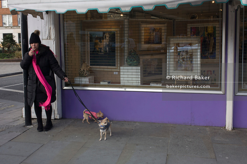 A dog owner smokes a cigarette during a qalk for her beloved pets in Waterloo, South London.
