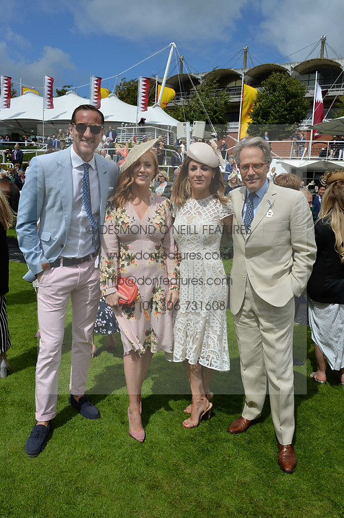 Left to right, Will Greenwood, Sarah-Jane Mee, Natalie Pinkham and the Earl of March & Kinvara at the Qatar Goodwood Festival, Goodwood, West Sussex England. 3 August 2017.<br /> Photo by Dominic O'Neill/SilverHub 0203 174 1069 sales@silverhubmedia.com