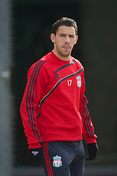LIVERPOOL, ENGLAND - Wednesday, March 17, 2010: Liverpool's Maximiliano Ruben Maxi Rodriguez training at Melwood Training Ground ahead of the UEFA Europa League Round of 16 2nd Leg match against LOSC Lille Metropole. (Photo by David Rawcliffe/Propaganda)