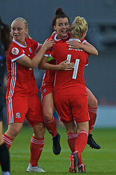NEWPORT, WALES - Tuesday, September 3, 2019: Wales' Angharad James (C) celebrates scoring the first equalising goal with team-mates Elise Hughes (L) and captain Sophie Ingle (R) during the UEFA Women Euro 2021 Qualifying Group C match between Wales and Northern Ireland at Rodney Parade. (Pic by David Rawcliffe/Propaganda)