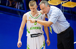 Luka Rupnik of Slovenia and Zmago Sagadin, head coach of Slovenia during basketball match between National team of Slovenia and Italy in First Round of U20 Men European Championship Slovenia 2012, on July 12, 2012 in Domzale, Slovenia.  (Photo by Vid Ponikvar / Sportida.com)