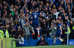05.05.2019, Stamford Bridge, London, ENG, Premier League, FC Chelsea vs Watford FC, 37. Runde, im Bild Gonzalo Higuain of Chelsea (left) celebrates with Cesar Azpilicueta of Chelsea after scoring their 3rd goal // Gonzalo Higuain of Chelsea (left) celebrates with Cesar Azpilicueta of Chelsea after scoring their 3rd goal during the Premier League 37th round match between FC Chelsea and Watford FC at the Stamford Bridge in London, England on 2019/05/05. EXPA Pictures © 2019, PhotoCredit: EXPA/ Focus Images/ Alan Stanford<br /> <br /> *****ATTENTION - for AUT, GER, FRA, ITA, SUI, POL, CRO, SLO only*****