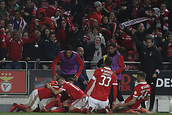 February 3, 2018 - Lisbon, Portugal - Benfica players celebrating their goal during the Portuguese League  football match between SL Benfica and Rio Ave FC at Luz  Stadium in Lisbon on February 3, 2018. (Credit Image: © Carlos Costa/NurPhoto via ZUMA Press)