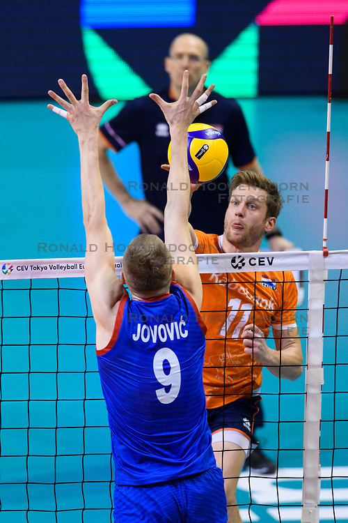 06-01-2020 NED: CEV Tokyo Volleyball European Qualification Men, Berlin<br /> Match Serbia vs. Netherlands 3-0 / Jelte Maan #11 of Netherlands