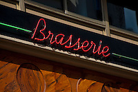 Sign of a Brasserie in Paris