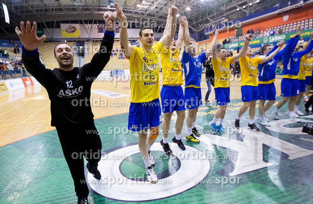 Players of Celje celebrate after winning the 1st Leg handball match between RK Celje Pivovarna Lasko vs VfL Gummersbach (GER) in  Semifinals of EHF 2011/12 Men's Cup Winners' Cup, on April 22, 2012 in Arena Zlatorog, Celje, Slovenia. Celje Pivovarna Lasko defeated Gummersbach 34-27. (Photo by Vid Ponikvar / Sportida.com)