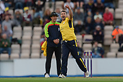 Jake Lintott celebrates the wicket of Johann Myburgh of Somerset during the NatWest T20 Blast South Group match between Hampshire County Cricket Club and Somerset County Cricket Club at the Ageas Bowl, Southampton, United Kingdom on 18 August 2017. Photo by Dave Vokes.