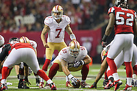 20 January 2013: Quarterback (7) Colin Kaepernick of the San Francisco 49ers lines up against the Atlanta Falcons during the second half of the 49ers 28-24 victory over the Falcons in the NFC Championship Game at the Georgia Dome in Atlanta, GA.