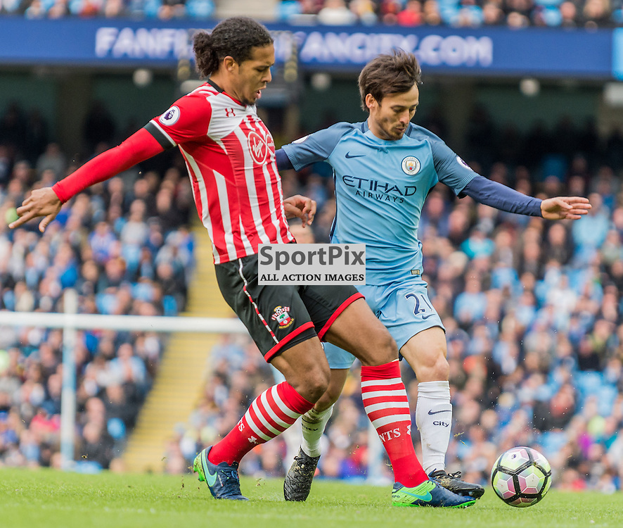 Southampton defender Virgil van Dijk (17) and Manchester City midfielder David Silva (21) challenge for a loose ball in the Premier League match between Manchester City and Southampton<br /> <br /> (c) John Baguley | SportPix.org.uk