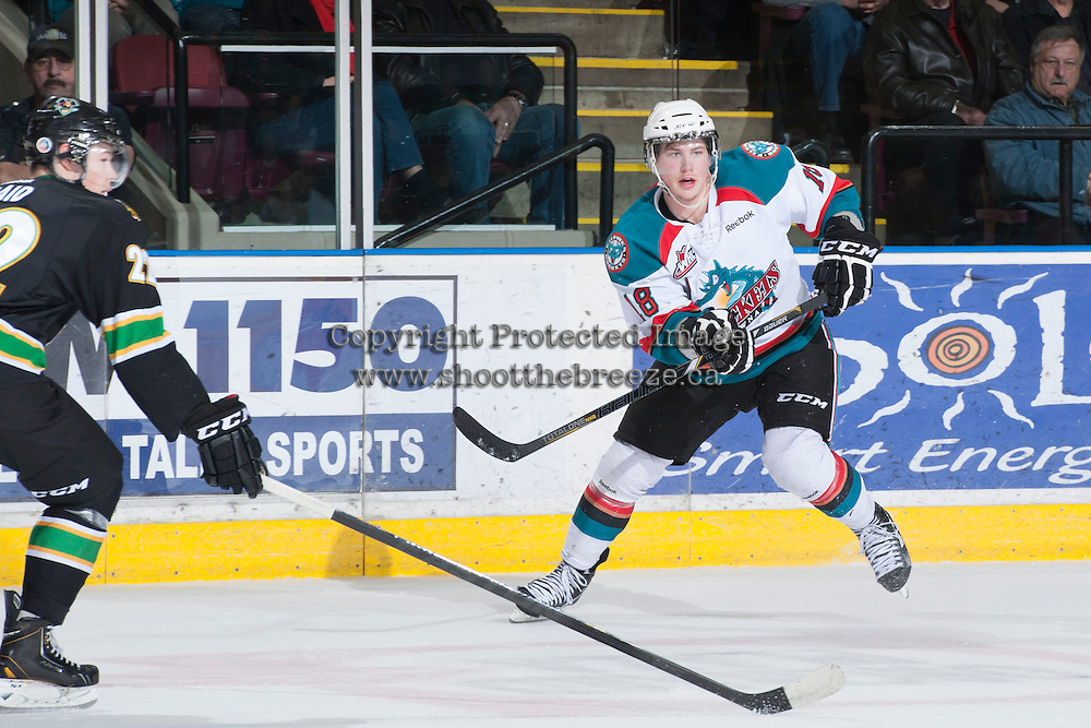 KELOWNA, CANADA - JANUARY 26:Cody Fowlie #18 of the Kelowna Rockets skates on the ice against the Prince Albert Raiders at the Kelowna Rockets on January 26, 2013 at Prospera Place in Kelowna, British Columbia, Canada (Photo by Marissa Baecker/Shoot the Breeze) *** Local Caption ***