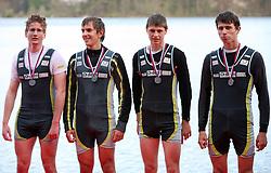 Young men team of Dravske elektrarne MB (Luka Dremelj, Gregor Mumel, David Jurse, Jan Juric) at 49th Prvomajska regata, on April 20, 2008, in Bled Lake, Slovenia.  (Photo by Vid Ponikvar / Sportal Images)./ Sportida)